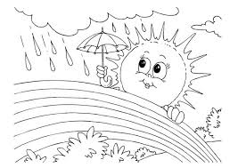 Small Picture Mrs Sun Using Umbrella During a Rainbow Rain Coloring Page