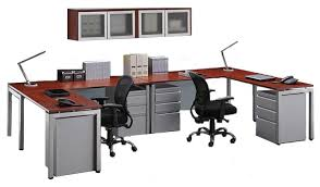 office desk for two. Person L Desk Workstation With Mounted Panels Photo Details - These Ideas We Provide To Office For Two