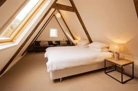 Bedroom, Attic Bedrooms With Slanted Walls Dark Grey Wallpaint Comfy Light  Black Single Sofa Blue