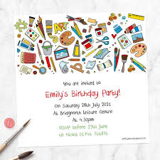 kids birthday party invitations personalised kids birthday invitations arts crafts party