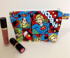 zippered pouch purse case makeup superwoman amys little e madeit au