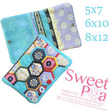 Sweet Pea Embroidery Designs Hexagon Wallet 5x7 6x10 8x12 Craft Machine Embroidery