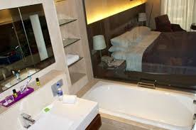 the lalit new delhi view of room from bathroom