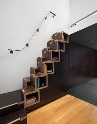 Village Loft Built In Stair Bookcase contemporary-staircase
