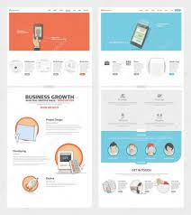 Company Portfolio Template Two Page Website Design Template With Concept Icons And Avatars For 19