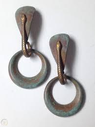 vine art deco dangling earrings