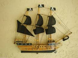 small wooden half hull pirate boat wood hanging nautical wall decor assembled 1782123413