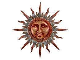 copper sun face wall decor