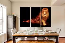 dining room artwork prints. 3 Piece Photo Canvas, Dining Room Canvas Wall Art, Lion Multi Panel Artwork Prints P