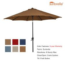 ulax furniture 9 ft outdoor umbrella patio market umbrella aluminum with push on tilt crank sunbrella fabric umbrella cover included canvas navy