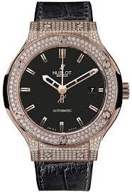 rose gold with diamonds case black leather band automatic men s zoom