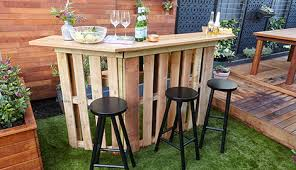 pallet bar. completed pallet bar in backyard p