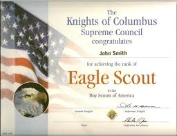 Awana Certificate Of Award Eagle Scout Certs