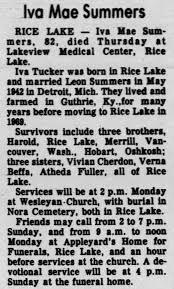 Iva Mae Tucker Summer's Obituary - Newspapers.com