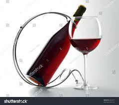 Light Burgundy Wine Bottle Burgundy Bottleholder Glass Red Wine Stock Photo