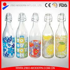 Decorative Glass Bottles Wholesale China Wholesale Clear Decorative Glass Water Bottle with Top Clips 76