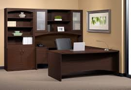 double office desk. Espresso Particle Wood Office Desk With Storage Cabinet And Hutch Having Double Swing Frosted Glass Door