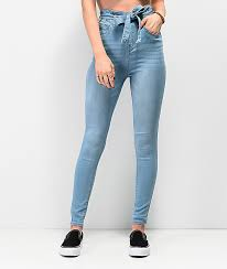 High Waisted Light Wash Skinny Jeans Almost Famous Light Wash Paper Bag Super High Waist Skinny Jeans