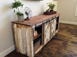 rustic distressed barn door sliding console furniture