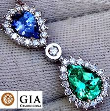 natural unheated blue sapphire and colombian emerald diamond pendant with necklace in 18 kt gold 3 22