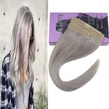 Remy Halo Uv Light Vesunny Invisible Halo Hair Extensions Silver Grey Remy Human Hair 16inch One Piece Double Weft