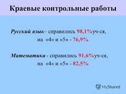 Презентация на тему Развитие муниципальной системы образования  6 Краевые контрольные работы Русский язык справились 98 1%уч ся на 4 и 5 76 9% Математика справились 91 6%уч ся на 4 и 5 82 5%