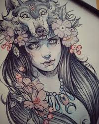 эскиз тату с девушкой в маске волка и цветами M татуировки