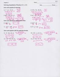 9 6 worksheet solving quadratic equations by factoring 2 pages 7 formulas with square roots