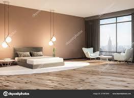 Minimalistisches Schlafzimmer Innenraum Mit Beige Wände Holzfußboden