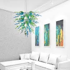 Großhandel Heißer Verkauf Rustikale Anhänger Lampen Geblasenem Glas Led Lampen Kronleuchter Beleuchtung Türkis Grün Weiß Wohnzimmer Kronleuchter Zum