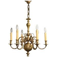 heavy dutch brass six branch chandelier for