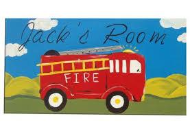 fire engine clock fire truck children s wooden wall clock boys nursery decor hand painted