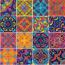 Pattern In Spanish Simple Spanish Ceramic Seamless Pattern In Pink Blue And Orange Colors