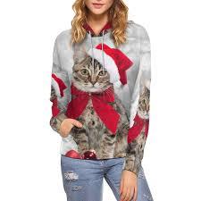 Myuhc Chart Interestprint Women Hoodies Sweatshirt Christmas Cat Hat