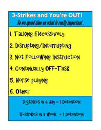 3 Strikes You Re Out Behavior Chart 3 Strikes And Youre Out For Classroom Disruptions 3