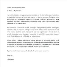 Sample College Reference Letters Sample Reference Letter For Student From Teacher Letter Of