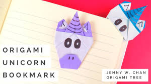 origami unicorn bookmark tutorial how to make a paper unicorn bookmark collab with red ted art you