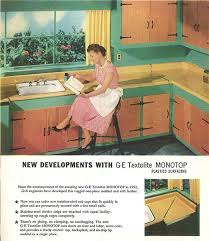 vintage green and yellow kitchen with laminate counter