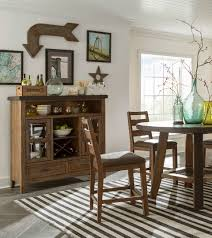 trend furniture. Dining Room With Rustic Furniture, White Walls, Striped Rug, Herringbone Floor, And Trend Furniture O