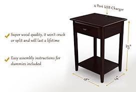nightstand with usb. Fine Usb Amazoncom StonyEdge Night Stand End Accent Table With USB Port  Espresso 17u201d Home U0026 Kitchen Throughout Nightstand With Usb