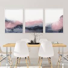 grey and white wall art and blush pink