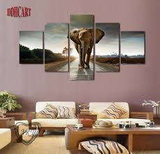 Wall Paintings For Living Room 5 Piece Elephant Painting Canvas Wall Art Picture Home Decoration