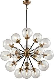 elk 14435 18 boudreaux contemporary matte black antique gold 32 nbsp hanging chandelier loading zoom