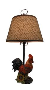 rustic farmhouse rooster table lamp with burlap and wire shade 0