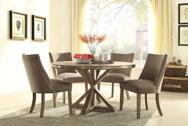 Beaugrand 54 Round Light Oak Stainless Steel Trim Dining Set
