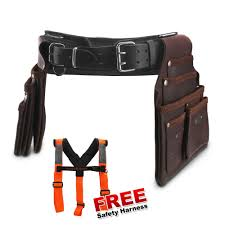 bluetongue blu4156 c black leather heavy duty tool belt with back support carpenter kit