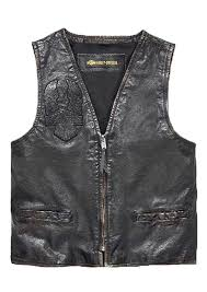 harley davidson men s iron distressed leather vest slim fit