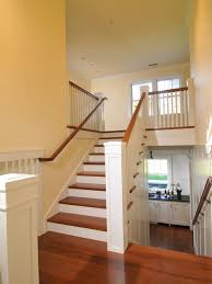 Split Level Staircase Design - white with wood