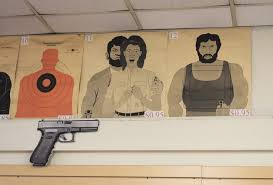 photo essay shooting guns in l a opinions the link paper targets for were either a circular target a target on the silhouette of a man a few pictorial posters of women in distress to aim around