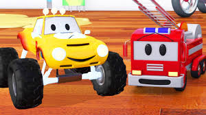 Fire Truck Bulldozer Racing Car And Lucas The Monster Truck
